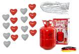 SET: Helium Ballongas + 50 Bio Herzen rot/weiß + 50 Fäden/Schnellverschüsse