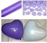 Hochzeit SET flieder weiß: 50 Herzballons Made in Europe, 1 Rolle Organza, 500 Rosenblätter