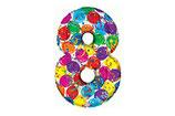 Zahl 8 Riesiger Zahlenballon bunt 1m Folienballon Helium Geburtstag