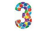Zahl 3 Riesiger Zahlenballon bunt 1m Folienballon Helium Geburtstag