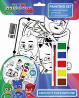 PJ Masks Malbuch Set: 6 tolle Bilder zum ausmalen, 6 Wasserfarben + Pinsel, alle Pyjamahelden dabei Gecko, Eulette, Catboy