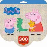Holographisches Buch - Sticker - Peppa Pig - 300 Aufkleber und 12 Malvorlagen