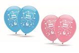 """Babyshower It´s a Girl / Boy, 8 große Ballons rosa / hellblau mit 2-seitigem Druck, 30cm Durchmesser, 12"""" heliumgeignet"""