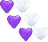 25 weiße und 25 lila Herzballons - Luft und Ballongas geeignet - Herzen Hochzeit