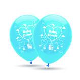 """Babyshower It´s a Boy, 8 große Ballons hellblau mit 2-seitigem Druck, 30cm Durchmesser, 12"""" heliumgeignet"""