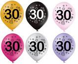 """30. Geburtstag 30th Birthday: 8 große metallic Ballons mit Druck 2-seitig,  30cm Durchmesser, 12"""""""