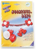 XL SET: Hochzeit Dekoration (Girlande, bedruckte Ballons, Herzen) Heirat