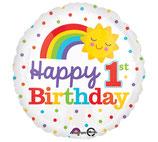 1. Geburtstag, Happy 1st Birthday, Folienballon heliumgeignet