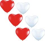 25 weiße und 25 rot Herzballons - Luft und Ballongas geeignet - Herzen Hochzeit