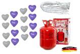 SET: Helium Ballongas + 50 Bio Herzen lila/weiß + 50 Fäden/Schnellverschüsse