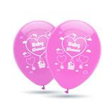 """Babyshower It´s a Girl, 8 große Ballons rosa mit 2-seitigem Druck, 30cm Durchmesser, 12"""" heliumgeignet"""