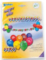XL SET: Geburtstag Dekoration (Girlande, bedruckte Ballons)