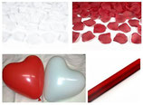 Hochzeit SET rot weiß: 100 Herzballons Made in Europe, 1 Rolle Organza, 1.000 Rosenblätter