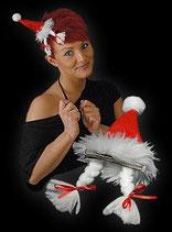 Weihnachtsmütze Mini mit 2 lustigen Zöpfen