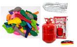SET: Helium Ballongas + 50 bunte Bio Ballons + 50 Fäden/Schnellverschüsse