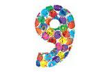 Zahl 9 Riesiger Zahlenballon bunt 1m Folienballon Helium Geburtstag