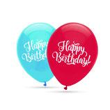 """Happy Birthday, 8 große Ballons gemischt mit 2-seitigem Druck, 30cm Durchmesser, 12"""" heliumgeignet"""