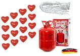 SET: Helium Ballongas + 50 Bio Herzen rot + 50 Fäden/Schnellverschüsse