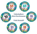 Zahlenballon Happy Birthday grün FREIE AUSWAHL Folienballon Geburtstag