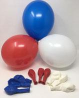 100 Bio Luftballons 3 Farben blau weiß rot Qualitätsballons 27 cm Ø (Standardgröße B85)