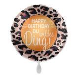"Folienballon  ""Happy Birthday du wildes Ding""  Ballon Heliumballon, 43cm Durchmesser"