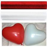 Hochzeit SET rot/weiß: 50 Herzballons, 2 Rollen Organza