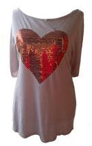 Bling Bling Sommershirt mit Paillettenherz XL