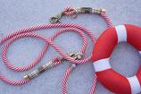 Tauhalsband & Leine rot/weiß