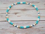 Zeckenschutzkette/Armband türkis/blau mit blauen Glassteinen
