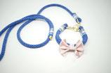 Tauhalsband & Leine blau variabel mit rosa Satinmasche