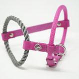 Brustgeschirr pink/grau mit Seemannsanhänger