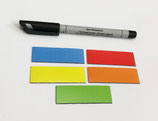 50 beschreibbare Magnetstreifen inkl. Stift | bunt – 60x20mm
