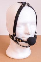 Ballknebel Ballgag Harness aus schwarzem PVC