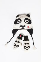 Alpaka Panda-Handschuhe für Kinder