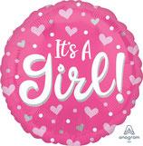 """Folien Ballon 17"""" - It's A Girl Pink"""