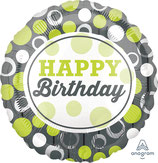 "Folienballon 17""- HBD Green & Silver Circles"