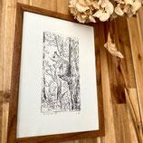 Originele ets - eekhoorn in het bos