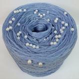 Mittelblau uni (weisse Perlen)