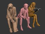 An der Haltestelle, 3D-Druck, 3er Figuren-Set, 1:45