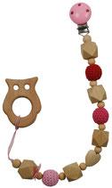 Kette mit Beiss-Holzanhänger mit Clip, Holz- & Häkelkugeln