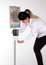 Info-Steller mit Klapprahmen und Dispenser