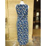 Blaues Kleid Adini gemustert /gelb/rosa Akzente