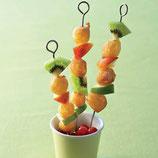 Brochettes de fruits Exotiques avec son coulis fruits de la passion framboise
