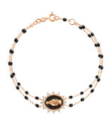 Bracelet Madone Suprême Double Perles Résine Noire Or Diamants