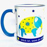 Tasse Elefant - Glück ist, wenn die Gelegenheit anklopft und du antwortest