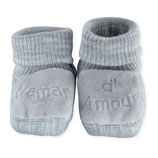 """Chaussons """" maman d'amour """" gris"""
