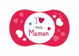 """Sucette """" j'aime ma maman """" rouge"""