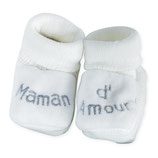 "Chaussons "" maman d'amour "" blanc"
