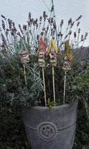 4 Keramik Häuser Stecker für Beet Blumentopf