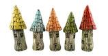 5 Keramik Baumhäuser Stecker für Beet oder Blumentopf beige/bunt